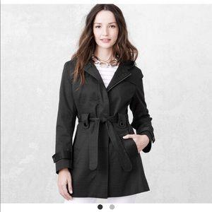 Box-Jacquard Hooded Belted trench Coat Rain Jacket